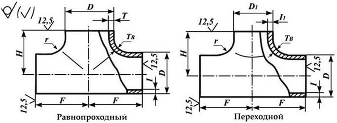 Схема тройников стальных по ГОСТ